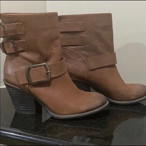Lucky brand tommie brown leather Ankle boots